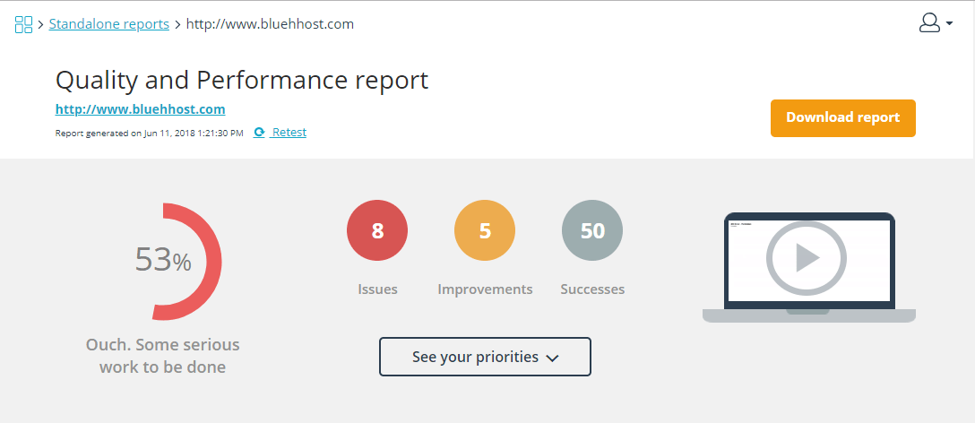 bluehost wordpress performance