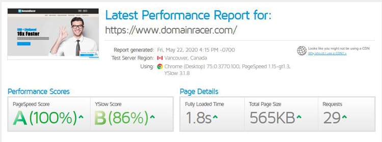 domainracer performance text