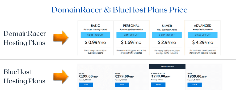 domainracer vs bluehost hosting plans prices