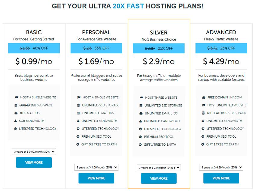 domainracer hosting price
