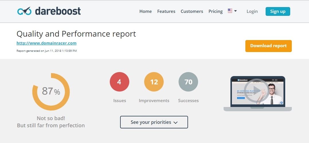 domainracer website performance speed