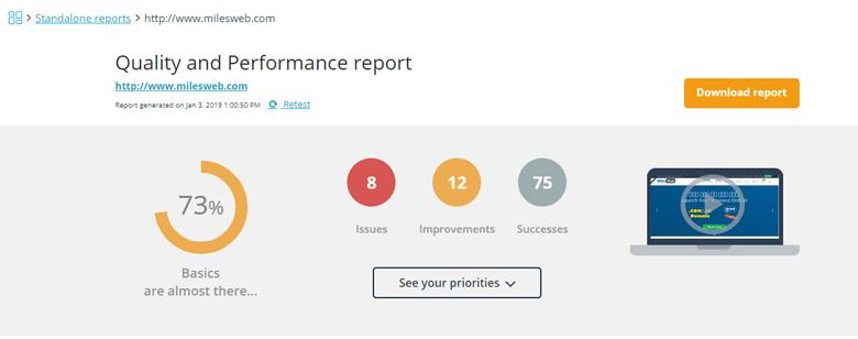milesweb website hosting performance